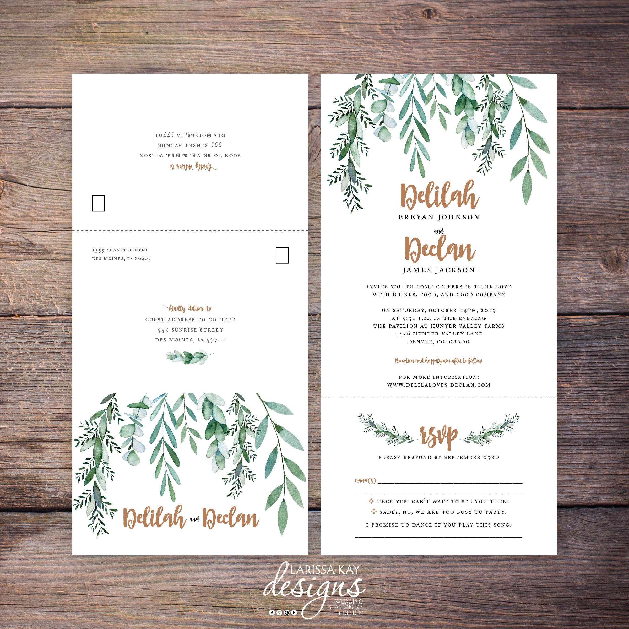 Printable Greenery Seal and Send Wedding Invite, Botanical, Garden ...