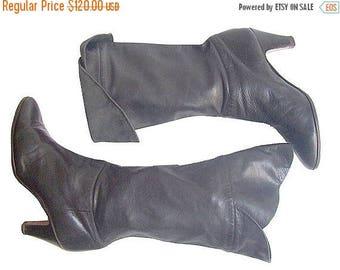 vintage VIOLACCI HEELS  BOOTS  black leather / fr39 / us 8