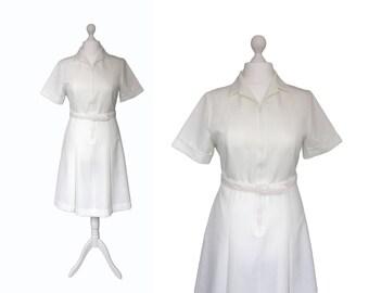 70's Dress - Vintage Nurse Uniform - Health Uniform - NOS - Ivory White Dress - Zip Up Dress - 1970's Vintage Dress