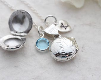 Small Silver Round Locket Necklace -Sterling silver Fancy Engraved Locket with two personalized charms of your choice. R-5