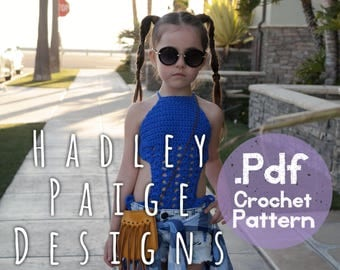 2 Crochet Patterns in 1 - Both HARLOW & KARMA Monokini's by Hadley Paige Designs. Boho kids.  Summer wear. Ages 6-8. Swim. One piece swim