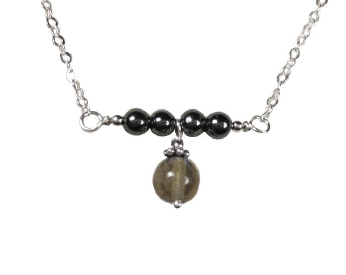 Horizon Collection - Labradorite Drop with Hematite Necklace - 4 & 6 mm - Sterling Silver