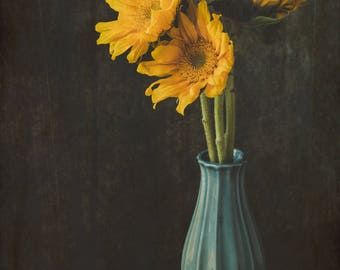 Yellow Sunflower in Blue Vase with Texture