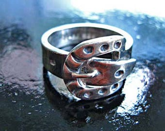 Sterling Buckle Ring Horseshoe, Taxco Mexico Oxidized 925 Silver Wide Band, Mans Ring Unisex Size 10, 11 grams, Horse Rider Bikers Ring
