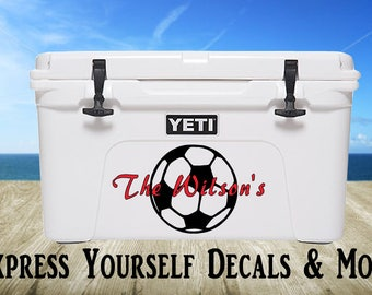 Soccer Ball Yeti Cooler Vinyl Decal Personalized