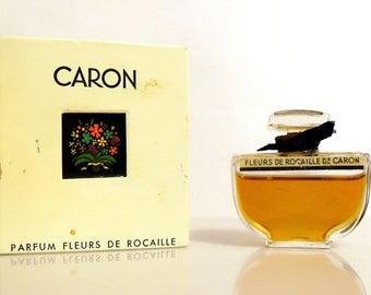 Vintage 1950s Perfume Fleurs de Rocaille by Caron 0.5 oz Pure Parfum Splash and Box Original Formula