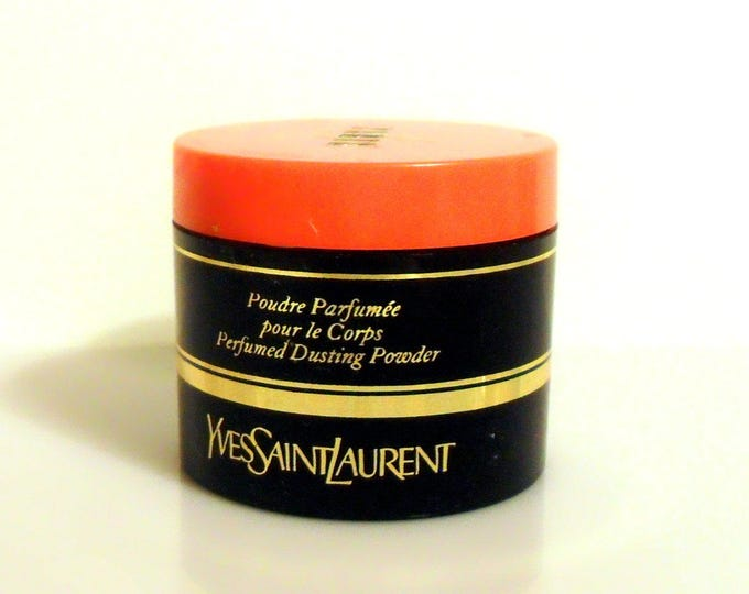 Vintage 1980s Paris by Yves Saint Laurent 0.25 oz Perfumed Dusting Powder Sample Jar