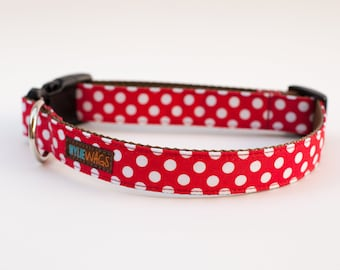 Handmade Red Polka Dot Dog Collar, dog collar for girls, dog collar for boys, dog collar