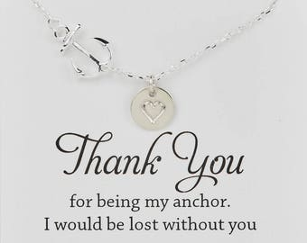 Entire sterling siler Anchor Necklace,sideways Anchor,Personalized initial anchor,Sailors Anchor,Wedding Jewelry,Bridesmaid gifts,daily Jew
