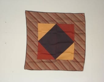 Vintage Orange and  Brown Scarf - Patterned Square Scarves - Womens Hair Accessories 1970s