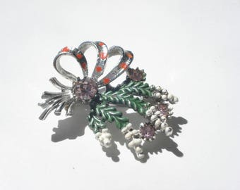 Vintage Scottish Lucky Heather Brooch - Silver Floral Pin with Amethyst Rhinestones -  Jewelry