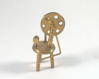 Vintage Miniature Brass Spinning Wheel -  Knitting - Doll House Collectables Holland