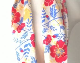 Vintage Long Satin Scarf - Red flowers Yellow Birds - Fashion Scarves - Women's Accessories 1980s