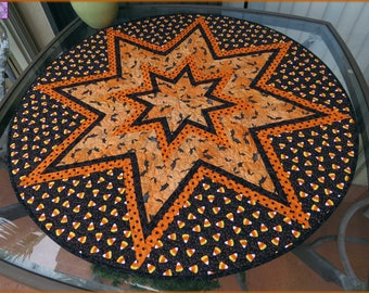 Halloween Candy Corn Table Topper Quilt Orange Polka Dot 764