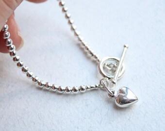 Sterling silver bead bracelet, Silver heart bracelet, Heart charm bracelet, Silver bead and heart bracelet, Silver beads and toggle bracelet