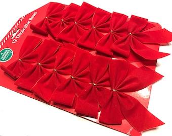 12 red velvet bows, 4 inch (LR17)