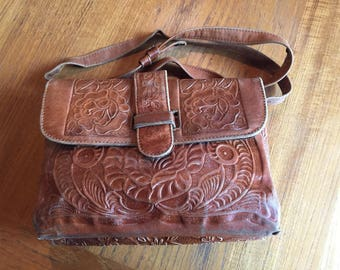 Tooled leather bag, leather, western style