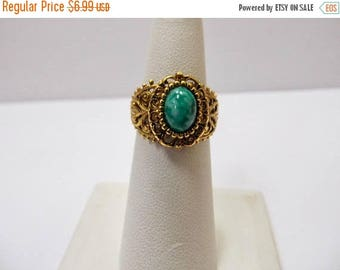 On Sale Vintage Adjustable Green Stone Ring Item K # 155