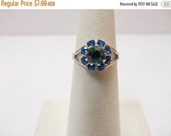 On Sale SARAH COVENTRY Prong Set Blue Rhinestone Adjustable Ring Item K # 887