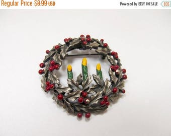 ON SALE TORINO Enameled Christmas Candle Wreath Pin Item K # 1515