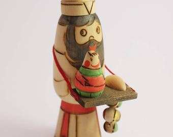 Vintage USSR Wooden Wood Folk Art Toy Seller Ornament with Pyrography Surface