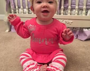 Personalized Ruffle Pant Set, Princess Ruffle Toddler Pant Set, Pink Toddler Ruffle Pant Set, Personalized Toddler Pant Set
