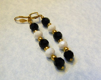 Faceted Black and White Glass and Gold Bead Drop Earrings