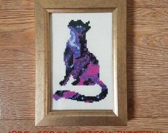 Galaxy cat cross stitch pattern - counted cross stitch, printable PDF