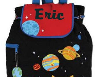 Backpack, Space design,  Quilted fabric,  planet backpack boy,  Stephen Joseph, includes personalization, custom embroidery