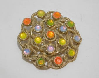 Vintage  Sarah Coventry Rhinestone Gold  Brooch Pin
