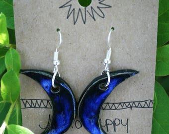 Ceramic crescent moon earrings