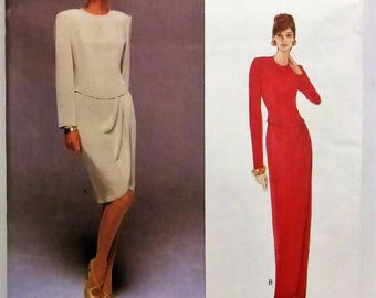 Vintage Vogue American Designer Pattern 1708  Tom & Linda Platt  Evening Dress Multi Size 12-14-16  Factory Fold