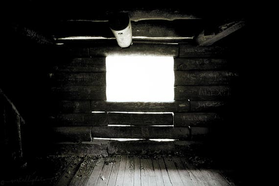 Light Leak Log Cabin - Rustic Black and White Photography Print Forest Woodland Outdoors Camping Home Decor Wall Art