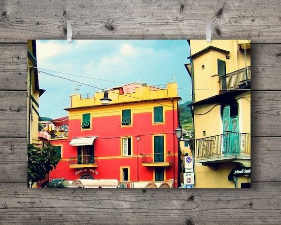 Ristorante / Monterosso al Mare, Cinque Terre, Liguria, Italy / Italian Riviera Travel Photography Print / Colorful Mediterranean Wall Art