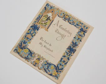 vintage religious card featuring the 23rd Psalm / Bible verse, parchment card by Buzza Cardozo, Hollywood
