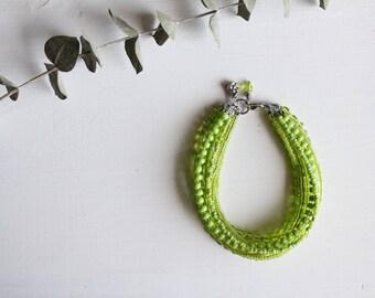 bright green multi strand beaded bracelet, handmade bracelet, summer bracelet