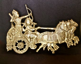 Solid Brass Roman Chariots Plaque with Self Easel Desktop or Shelf, Metallic Home Decor
