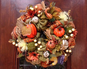 Burlap, Khaki and Orange Mesh Fall Wreath