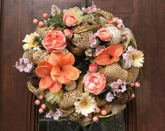 Khaki and Coral Burlap and Mesh Wreath