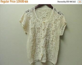 SALE Crochet Cardigan Sweater - Woven Knit Shirt - Wooden buttons - S M