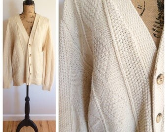 90s Cream Heavy Fisherman Cardigan Sweater