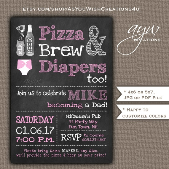 Beer and Diaper Party Invitation Girl Man Shower Invite Printable