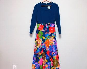 Vintage Rainbow Floral Maxi Dress // Hippie Dress // Hostess Dress 1960s/1970s