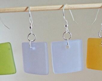 Square Cultured Seas Glass Earrings