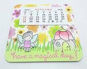 2018 Fairy Calendar, Fantasy Fairy theme calendar, floral garden fairy calendar