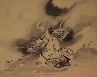 Antique Fine Art Wall Hanging Scroll Painting Mashi Huang and Dragon Inkwash painting Kakejiku – 1609091