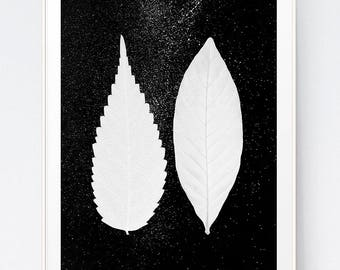 Black White Print, Black White Leaves, Black White Art, Last Minute Gift,