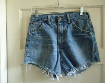 "Vintage 70s LEE Denim Jean Cutt Off Shorts sz 30"" waist"