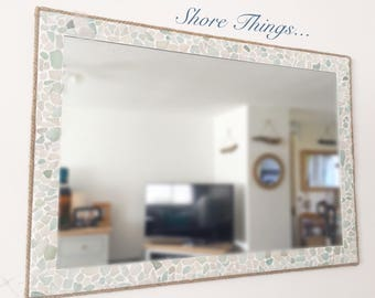 Large Rectangle Sea Glass Mirror 35 Isle Of Wight Beach Home Decor Natural Nautical Wall