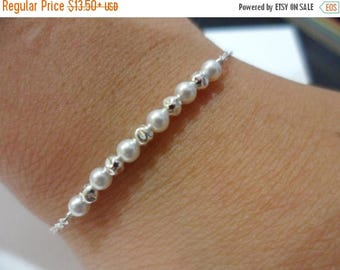 ON-SALE Minimalist -  Floating Sterling Silver Bead and Pearl Bracelet - Junior Bridesmaid Gift, Bridesmaid Gift, Flower Girl Gift, Dainty B